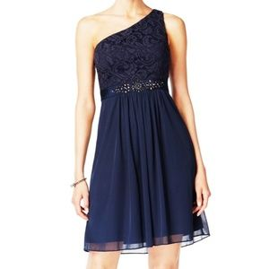 Adrianna Papell One Shoulder Navy Lace Dress 14